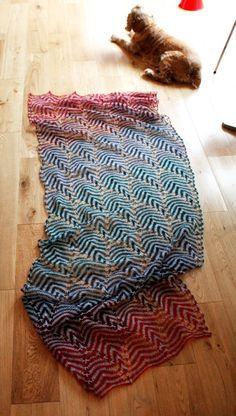 knitlab red and blue shawl/ Kieran Foley
