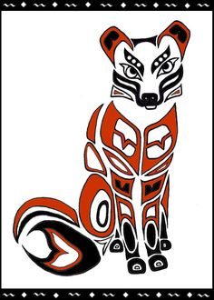 """""""Raven Totem"""" by Melissa Muir (Lagaz) Hand-drawn, scanned, re-sized & colored in Photoshop. Done in Northwest Coast Style. September 2007 Creation, knowledge, magic and light Crows and Ravens a. Native American Totem, Native American Symbols, Native American Design, American Indian Art, American Indians, Raven Totem, Fox Totem, Inuit Kunst, Inuit Art"""
