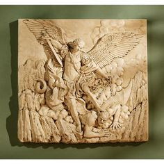 Design Toscano St Michael the Archangel Sculptural Wall Frieze in Stone -- For more information, visit image link. Ganesha, Wall Sculptures, Lion Sculpture, Angel Sculpture, Outdoor Wall Art, Garden Angels, Saint Michel, Archangel Michael, Statue