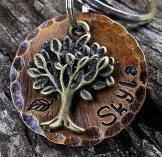 Tree Pet ID Tag -Collar Tag/Dog Tag (Mystical Forest) Rustic/Antiqued on Etsy, $10.00
