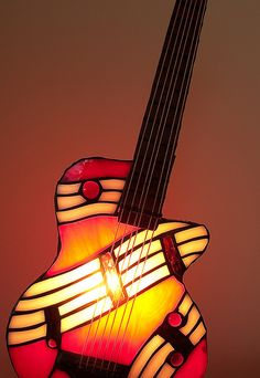 Stained glass guitar lamp