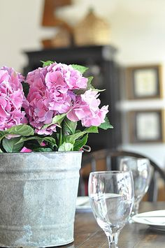 galvanized bucket with potted flowers - perfect for any season centerpiece! Orchid Plants, Orchids, Fresh Flowers, Beautiful Flowers, Potted Flowers, Flower Centerpieces, Flower Arrangements, My Flower, Flower Pots