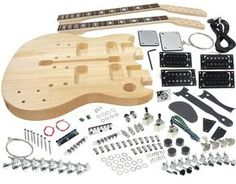 This unfinished guitar kit has everything for building your own SG Style Electric Double Neck Guitar.