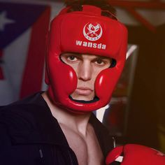 2pcs Boxing Helmet EVA Boxing Head Guard Taekwondo Helmet Training Red Blue