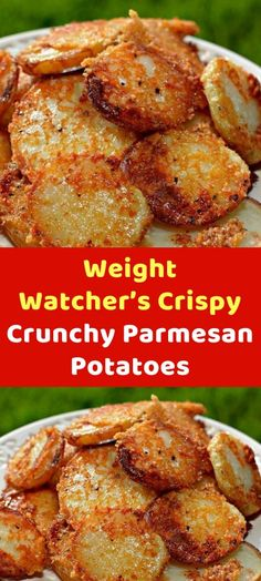 Crispy Crunchy Parmesan Potatoes When we had a birthday party for my twins not long ago, I made these for our guests. I baked them as suggested until they were just about cooked through and then Skinny Recipes, Ww Recipes, Veggie Recipes, Appetizer Recipes, Cooking Recipes, Healthy Recipes, Recipies, Weight Watcher Vegetable Recipes, Weight Watcher Recipes