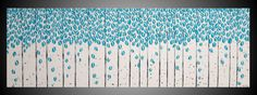 Large Painting Turquoise Wall art deco Birch tree painting