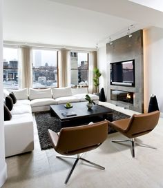 Love those chairs and fireplace! - Architecture and Home Decor - Bedroom - Bathroom - Kitchen And Living Room Interior Design Decorating Ideas - Condo Living Room, Living Room With Fireplace, Living Room Modern, Living Room Interior, Home And Living, Living Room Furniture, Living Room Designs, Living Room Decor, Furniture Stores