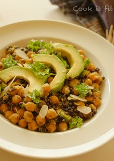 Buttery Lentils and Chickpea Salad with Avocado