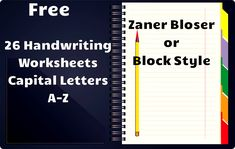 Free Handwriting Worksheets! Includes worksheets for all Capital Letters with directions to form the letters, space for tracing, and independent practice. These are in Zaner Bloser or block style.