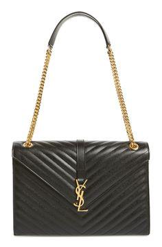'Large Monogram' Grained Leather Shoulder Bag