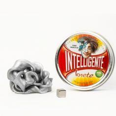 Silberne ferromagnetische Knete + Magnet - Intelligente Knete