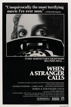 When A Stranger Calls starring Charles Durning, Carol Kane & Colleen Dewhurst. Man, this film used pure imagination. Best Horror Movies, Classic Horror Movies, Horror Movie Posters, Cinema Posters, Classic Films, Terrifying Movies, Scary Movies, Old Movies, Great Movies