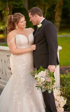 Courtesy of Stella York wedding dresses; 6743 Plus-Size Mermaid Wedding Dress with Beaded Straps by Stella York Wedding Dresses Near Me, Two Piece Wedding Dress, Plus Size Wedding Gowns, Lace Wedding Dress, Wedding Dress Styles, Designer Wedding Dresses, Dress Plus Size, Plus Size Gowns, Stella York Wedding Gowns