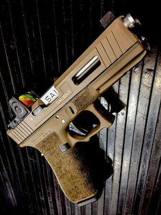Salient Arms International Glock 17 Tier One with RMR cut/sight and fluted, match-fit/bead-blasted barrel. Custom Glock, Custom Guns, Weapons Guns, Guns And Ammo, Salient Arms, Shooting Guns, Shooting Range, Fire Powers, Cool Guns