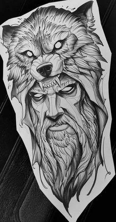 Sketch Style Tattoos, Wolf Tattoo Design, Tattoo Design Drawings, Tattoo Sleeve Designs, Viking Tattoo Sleeve, Wolf Tattoo Sleeve, Viking Tattoos, Sleeve Tattoos, Norse Mythology Tattoo