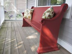 looks like an old church pew!! front porch red bench