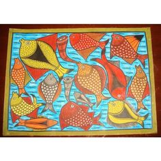 Wedding ceremony of fish kalighat folk painting from for Mural fish in tamil
