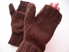 free knitting pattern convertible mittens 3.75mm needle 320m yarn gauge 22st ...r (10cm)