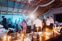 barn wedding reception, dance floor, light sticks