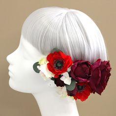 髪飾り・ヘッドドレス/アネモネとローズの髪飾り(ワインレッド) - ウェディングヘッドドレス&花髪飾りairaka