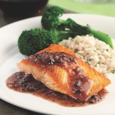 Salmon with Red Wine-Morel Sauce - EatingWell.com