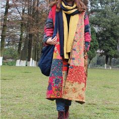 Women winter retro style cardigan cotton linen Overcoat