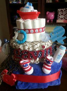 Ahoy it's a boy diaper cake!