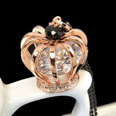 #AdoreWe #Jeulia Jeulia Queen's Crown Rose Gold Round Cut Created White Sapphire Necklace - AdoreWe.com