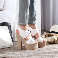 Sweet Crossed Belt Platform Chunky High Heels White Suede Sandals