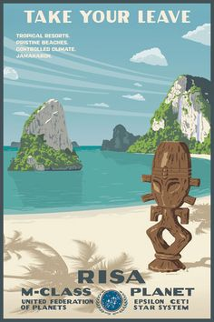 RISA  WPA style travel poster to Risa. Part of an ongoing series through Bye, Bye Robot.