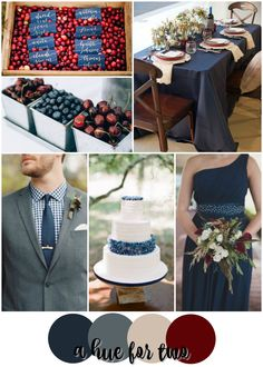 Navy and Cranberry Rustic Summer Wedding Color Scheme - Red White and Blue Wedding - Dark Colors - A Hue For Two | www.ahuefortwo.com