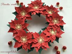 Corona di stelle di Natale in carta  * Paper Poinsettia wreath