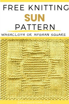 Free Garden Themed Dishcloth and Afghan Squares Knitting Patterns Knitted Squares Pattern, Knitted Dishcloth Patterns Free, Knitting Squares, Knitted Washcloths, Knitting Machine Patterns, Knit Dishcloth, Loom Knitting, Knitting Stitches, Knitting Designs