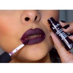 "I'm just obsessed with dark purple lips nyx ""Transylvania"" soft matte lip cream Makeup Goals, Love Makeup, Neutrogena, All Things Beauty, Beauty Make Up, Soft Matte Lip Cream, Dark Lips, Skin Makeup, Makeup Lipstick"