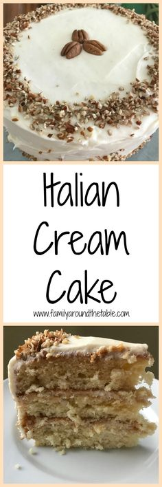 This Italian Cream Cake is made from scratch and frosted with a not too sweet cream cheese frosting. Perfect for any special occasion.