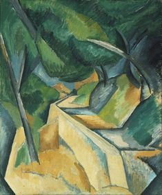 "Road near L'Estaque / Georges Braque / late summer 1908 / from MoMa: ""Road near L'Estaque looks forward to Cubism in its significantly restricted palette of colors, crowded space, and sharp geometric forms."""