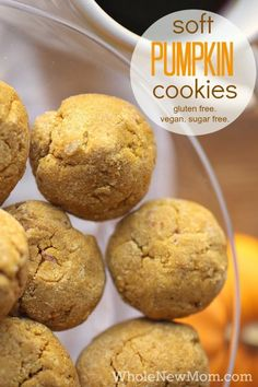 Looking for a Healthy Gluten Free Treat?  These Soft Pumpkin Cookies are Gluten Free, Dairy Free, Egg Free, and Sugar Free - They remind us of Enjoy Life Cookies, but without all the sugar and very little sweetener at that!  Great not just for fall, but all year round. via @wholenewmom