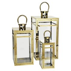 Set of 3 Missouri Lanterns in Gold | ACHICA