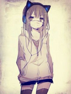 Neko headphones, cute anime girl.