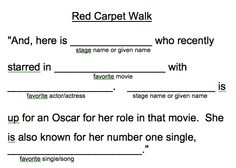 Red Carpet/Movie Release welcome script!!