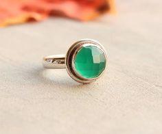 Green onyx ring  Emerald green ring  Faceted ring  by Studio1980, $60.00