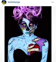 Like and share this pure awesomeness! Makeup fanatic Corie Willet 29 discovered a love of creepy body paint and transforms herself into pop-art creations. The hairdresser from Illinois US becomes unrecognisable. Pop Art Makeup, Face Paint Makeup, Makeup Ideas, Body Makeup, Crazy Makeup, Horror Makeup, Zombie Makeup, Sfx Makeup, Costume Makeup