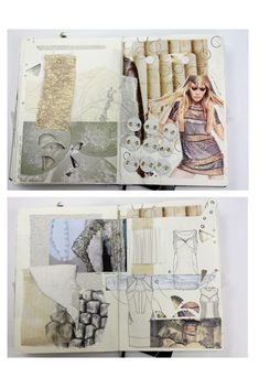 Fashion Sketchbook exploring fabric manipulation techniques for fashion design & development; the creative process Sketchbook Layout, Textiles Sketchbook, Fashion Design Sketchbook, Sketchbook Inspiration, Fashion Sketches, Sketchbook Ideas, Fabric Manipulation Techniques, Denim Art, Art Journal Pages