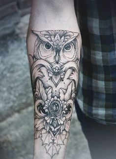 Simple Owl with Gem Tattoo