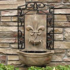 The Bordeaux - Outdoor Wall Fountain - Florentine Stone - Water Feature for Garden, Patio and Landscape Enhancement Outdoor Wall Fountains, Garden Water Fountains, Outdoor Walls, Stone Water Features, Water Features In The Garden, Heron Fountain, Bordeaux, Drinking Fountain, Water Walls