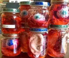 DIY upgraded Dollar Store Body Parts in jars, the gel they are suspended in is hand sanitizer.