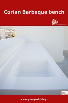 Barbeque bench, made by corian (pure white) at a house terrace in Athens!
