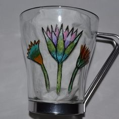 """tasse à thé, café en verre et inox peinte main  motif Egypte """"Lotus et papyrus"""", Peinture sur verre Opale Isis, sur Un Grand Marché"""