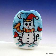 """THE SNOW CATS"" byKAYO a Handmade WINTER CAT Lampwork Art Glass Focal Bead SRA #Lampwork"