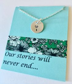 Best Friends Necklace, Our Stories Will Never End Necklace, Best Friend, Best Friend Gift, Hand Stamped Friend Necklace, Friend Necklace